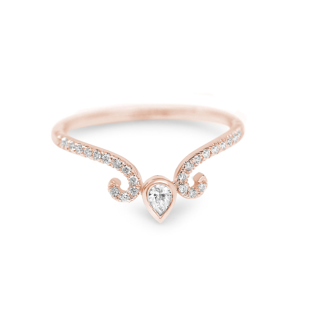 Pear Diamond Wedding Nesting Band, Ariana