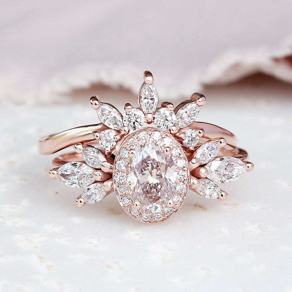 Oval Diamond 1.45ct Unique wedding Two Rings set, Athena - 14K rose gold, size 6.5, ready to ship - sillyshinydiamonds