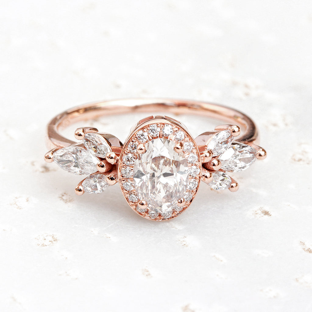 Oval Diamond 1.18ct Unique Engagement Ring, Athena - 14K rose gold, size 6.5, ready to ship
