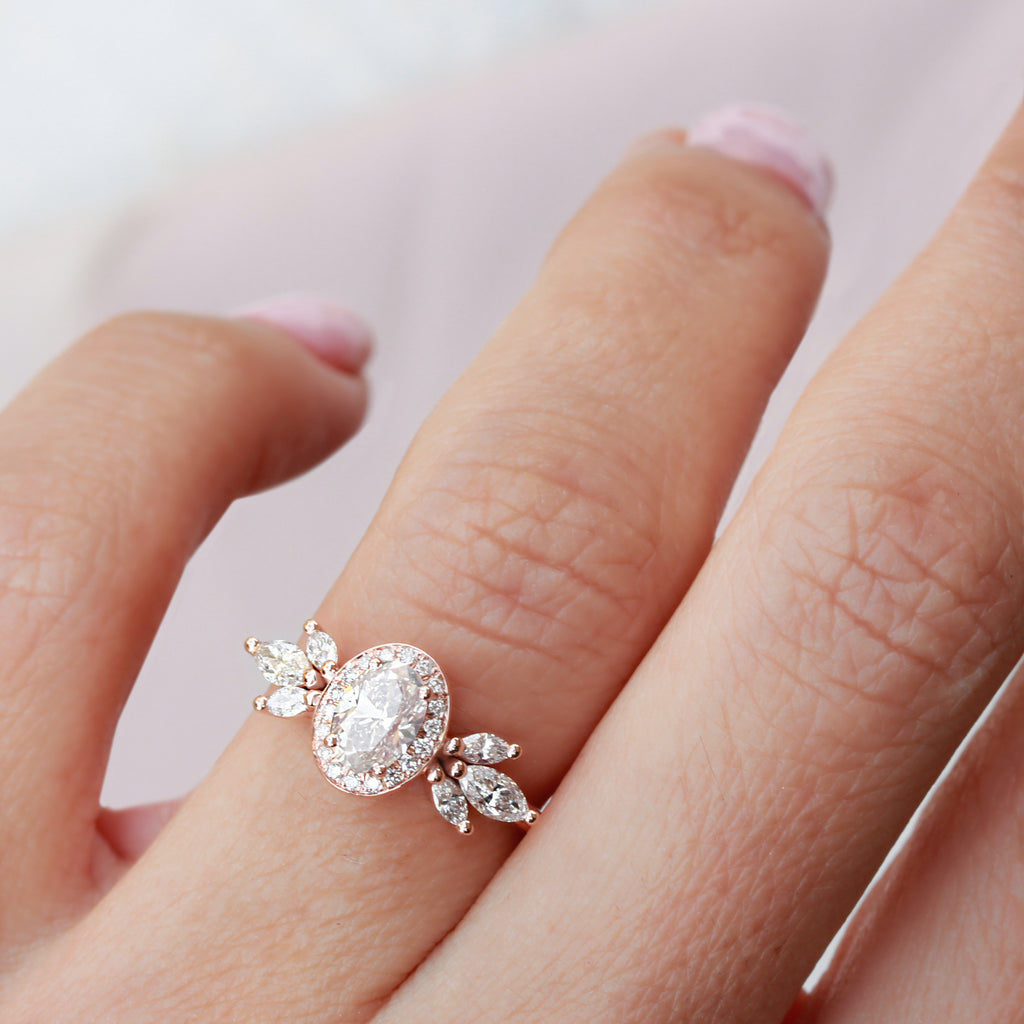 Oval Moissanite Unique Engagement Three Rings Set, Athena & Two Crowns - sillyshinydiamonds
