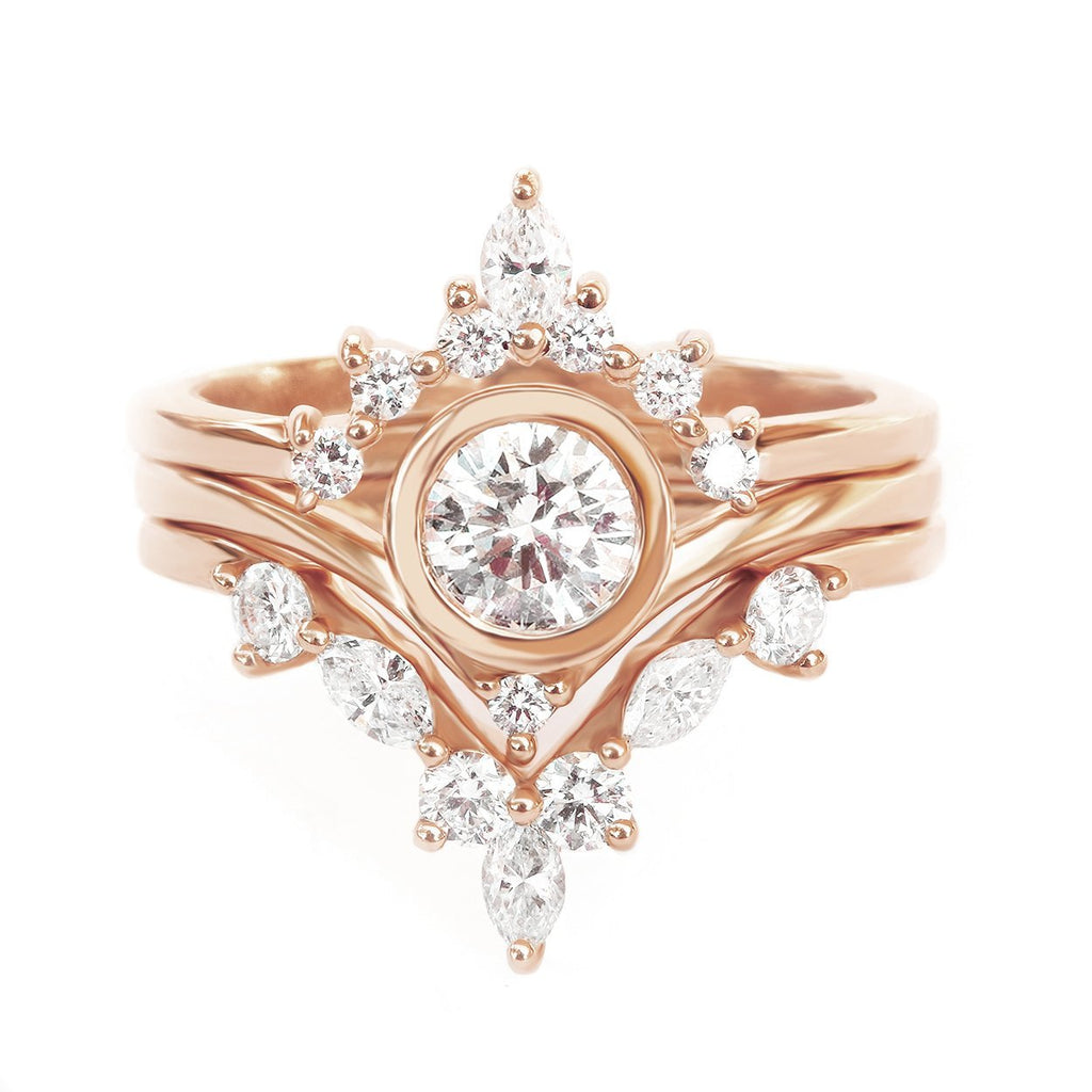 Bindi, Romi & Hermes - Three Diamond Engagement & Wedding, Bridal Rings Set
