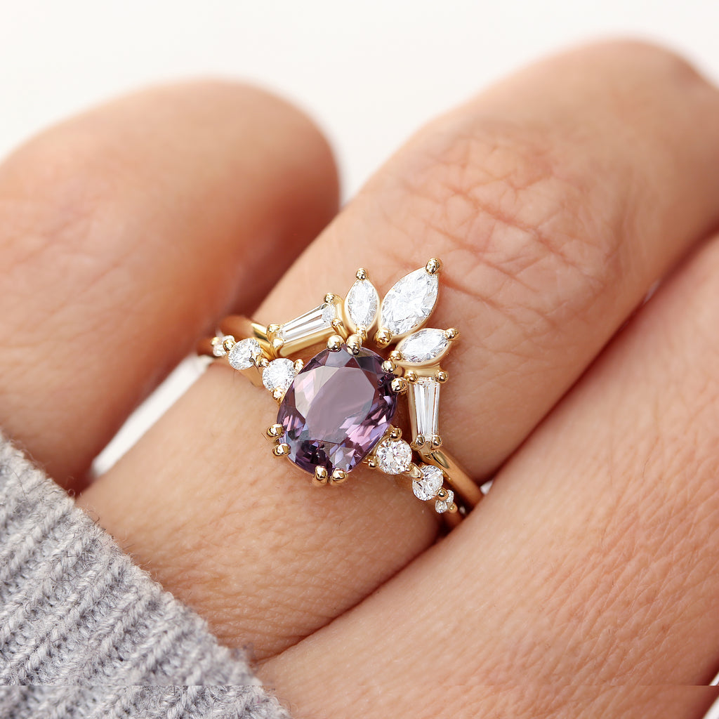 Purple Spinel & Diamonds Engagement Rings set, Candy pop + Artemis - sillyshinydiamonds