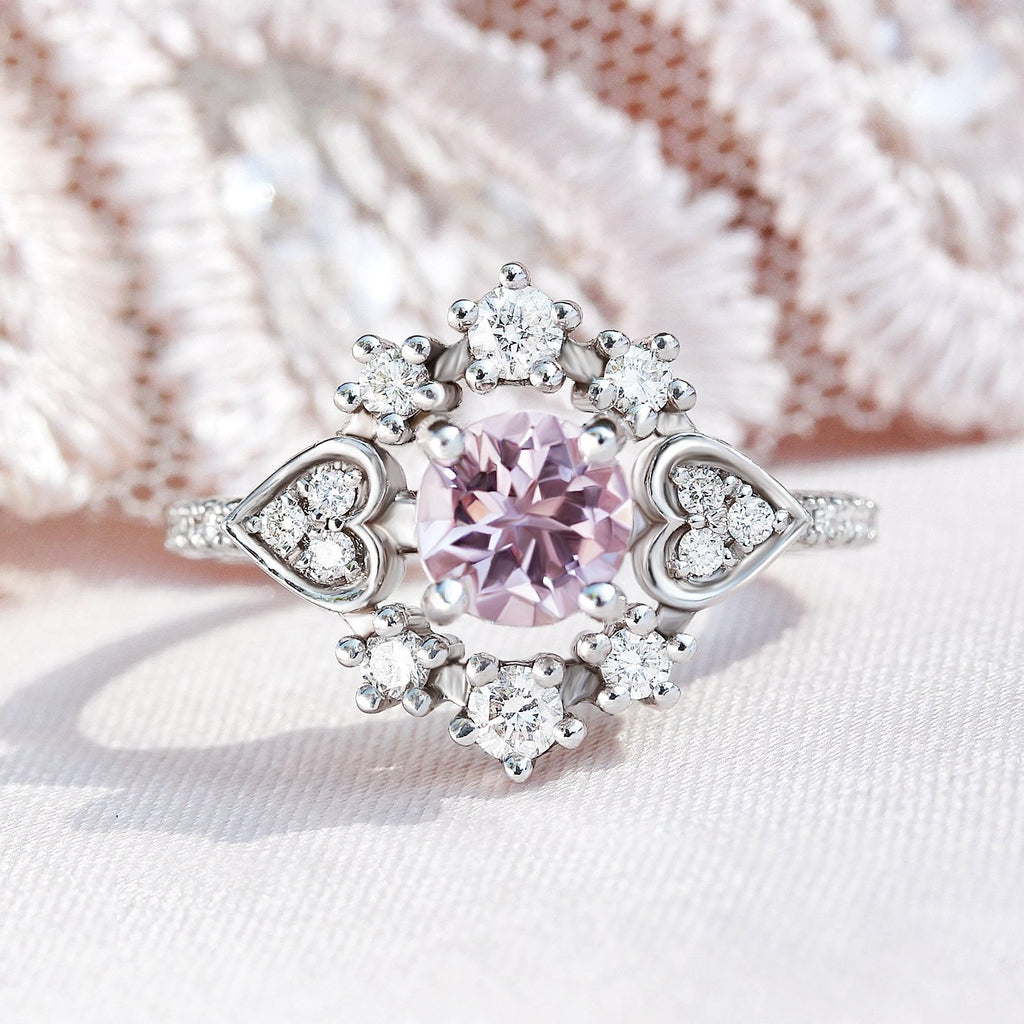 Morganite & Diamond Halo Unique Engagement Ring, Destiny One, 14K White Gold Size 6.