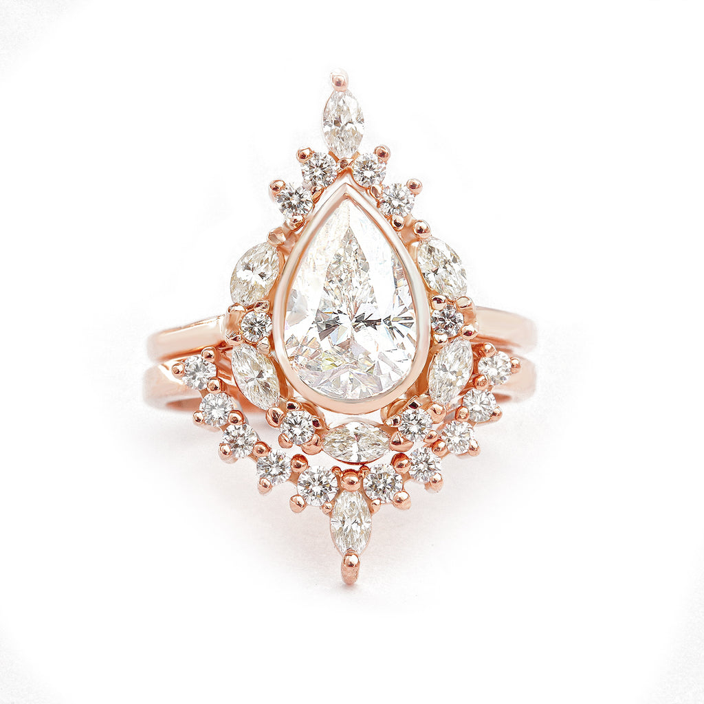 Pear Diamond Unique Engagement Ring Set, Eva - sillyshinydiamonds