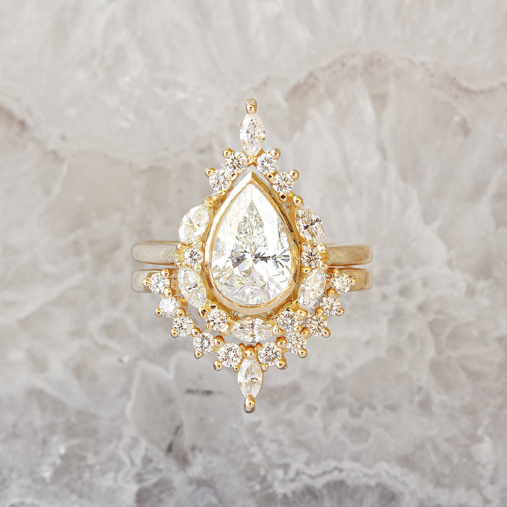Pear Diamond Unique Engagement Ring Set 1.3 carat, Eva - sillyshinydiamonds