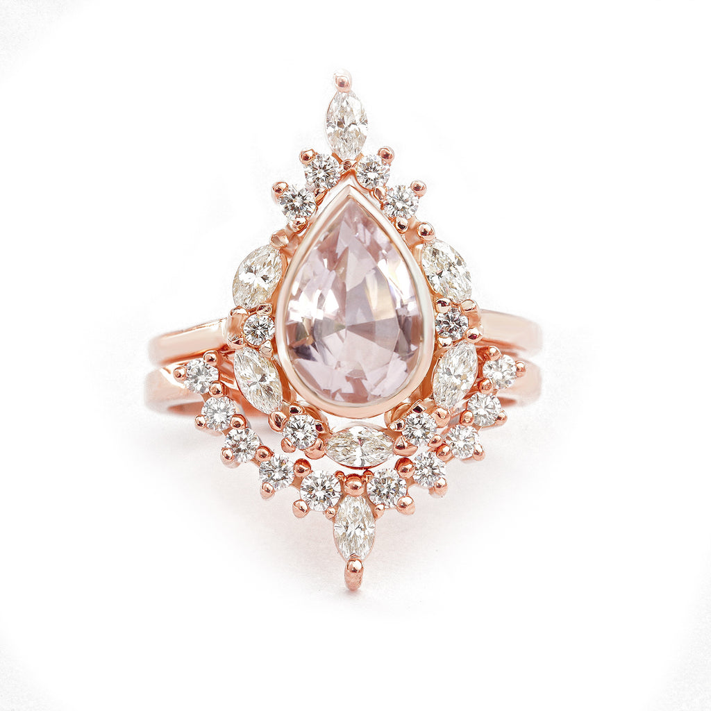 Pear Morganite Unique Engagement Ring Set, Eva - sillyshinydiamonds