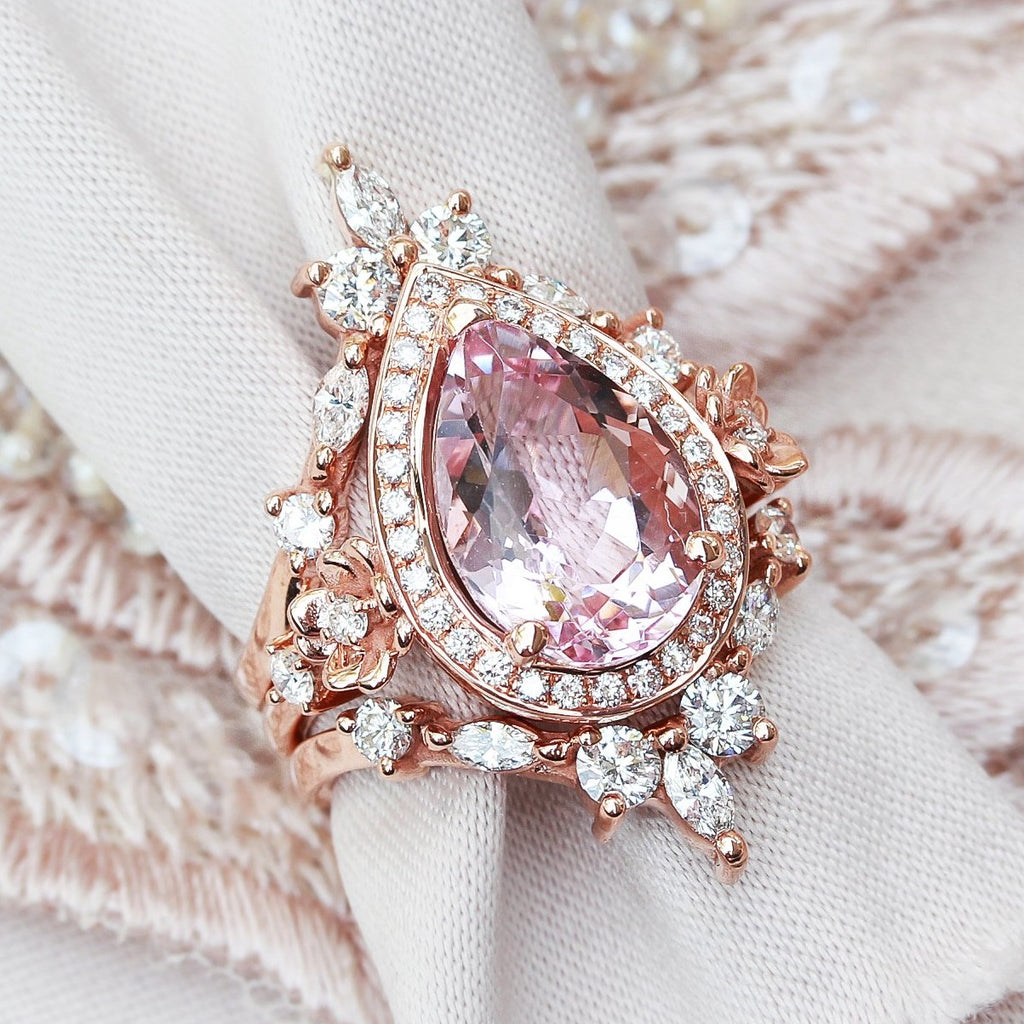 Pear 3.0ct big Morganite & Diamond Halo with gold flowers Wedding three ring set, Antheia