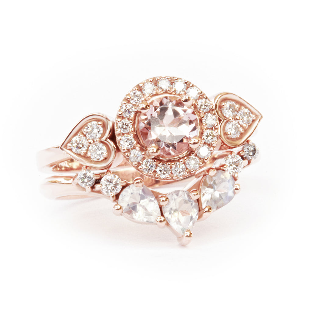 Morganite & Diamonds Halo & Hearts Shank - Sugar Rose
