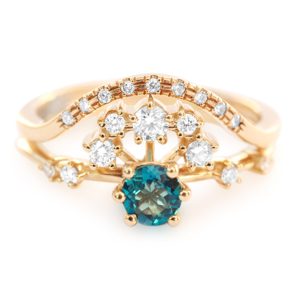 Roya and Curve Blue Topaz & Diamond Unique Cluster Halo Wedding Engagement Ring Set - sillyshinydiamonds