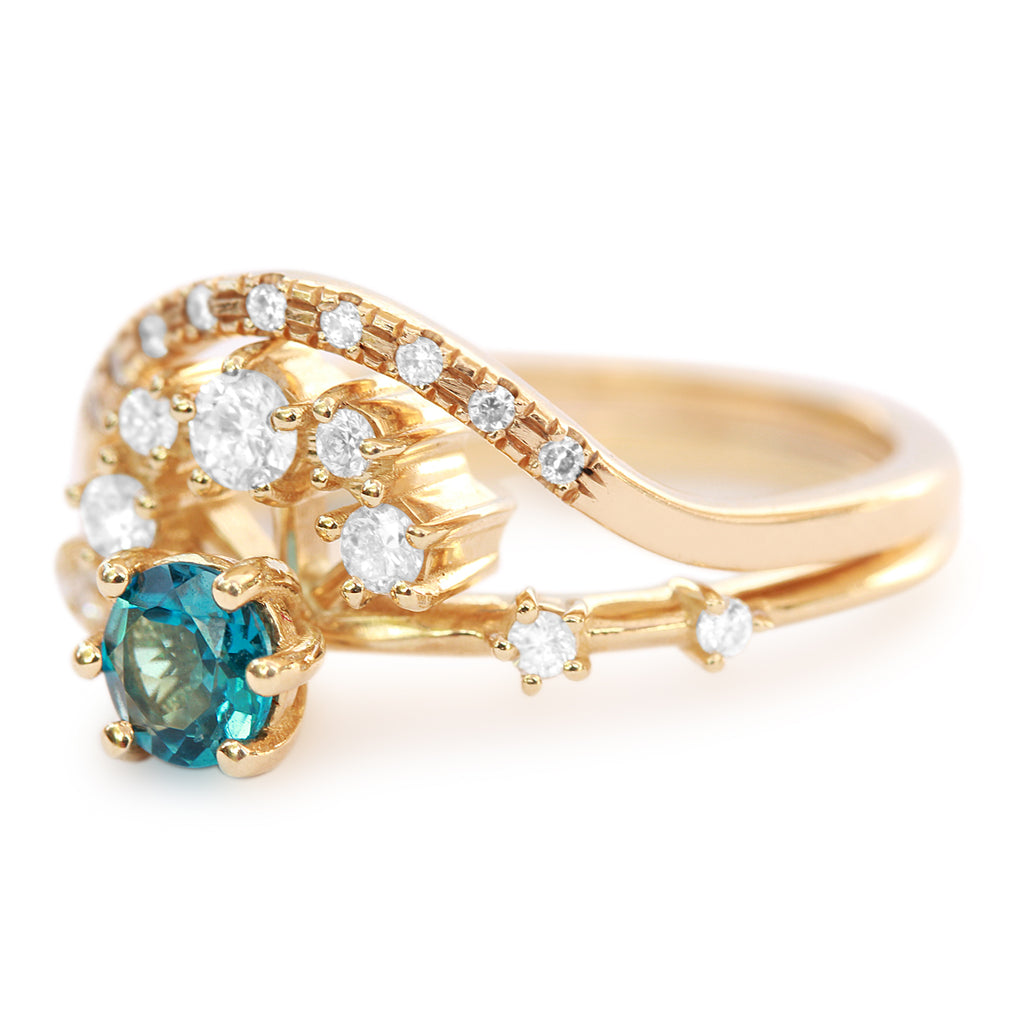 Roya and Curve Blue Topaz & Diamond Unique Cluster Halo Wedding Engagement Ring Set