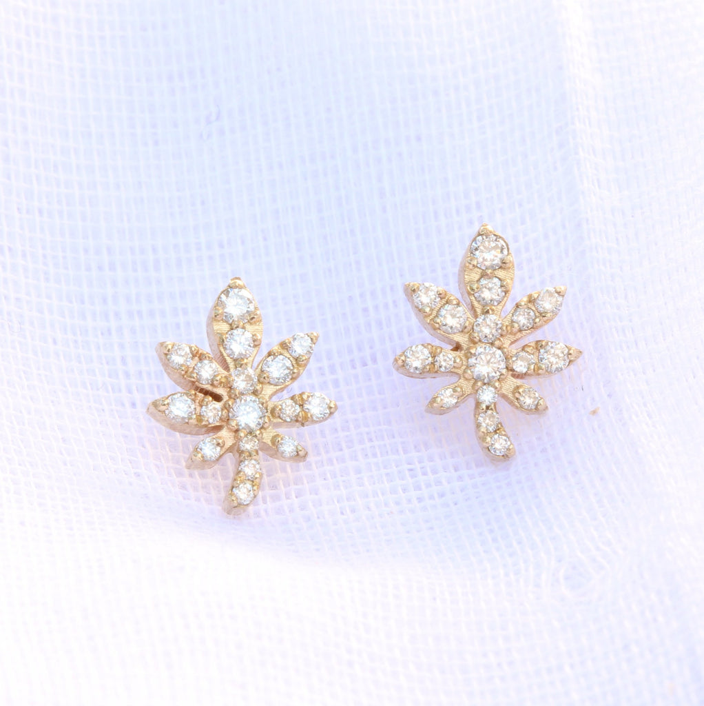 Magic Leaf - 14K Yellow Gold & Diamonds Stud Earrings. Ready to ship