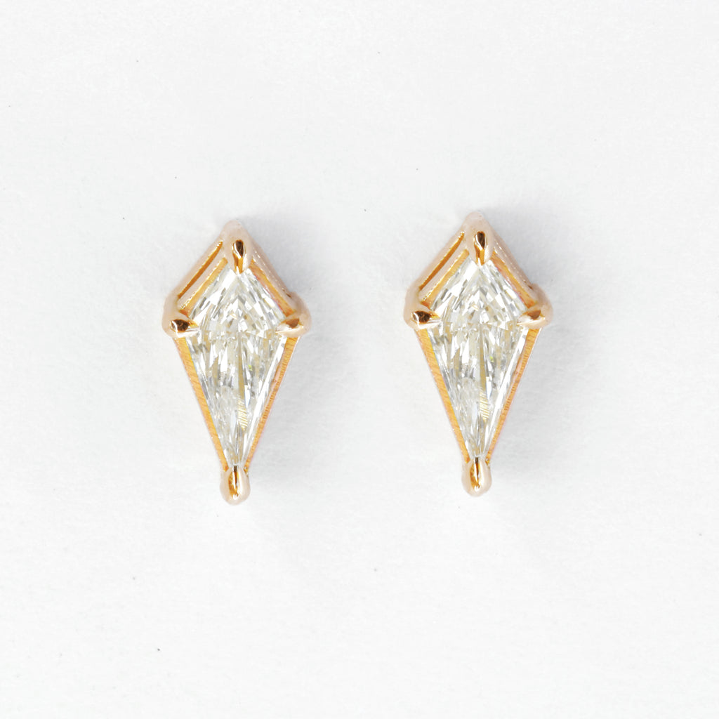 Kite diamond dainty stud earrings