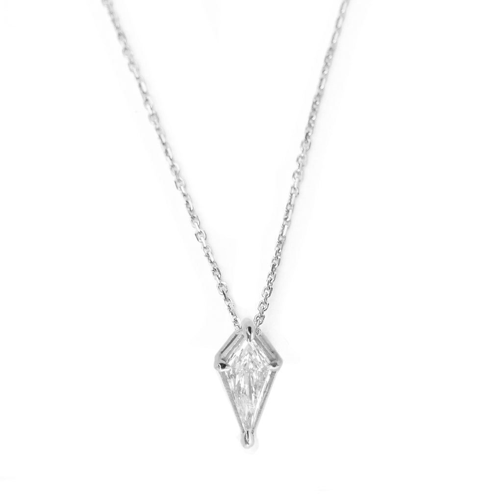 kite diamond pendant necklace white gold