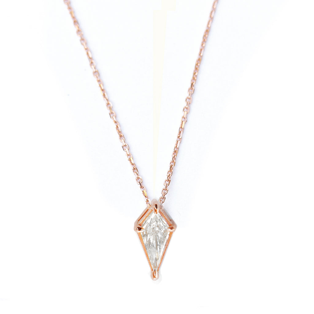 kite diamond pendant necklace rose gold