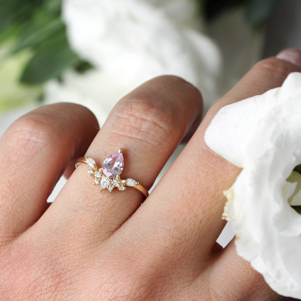 Pear blush pale light pink sapphire Bee Ring, Size 6.5, 14K yellow gold - Ready to ship - sillyshinydiamonds