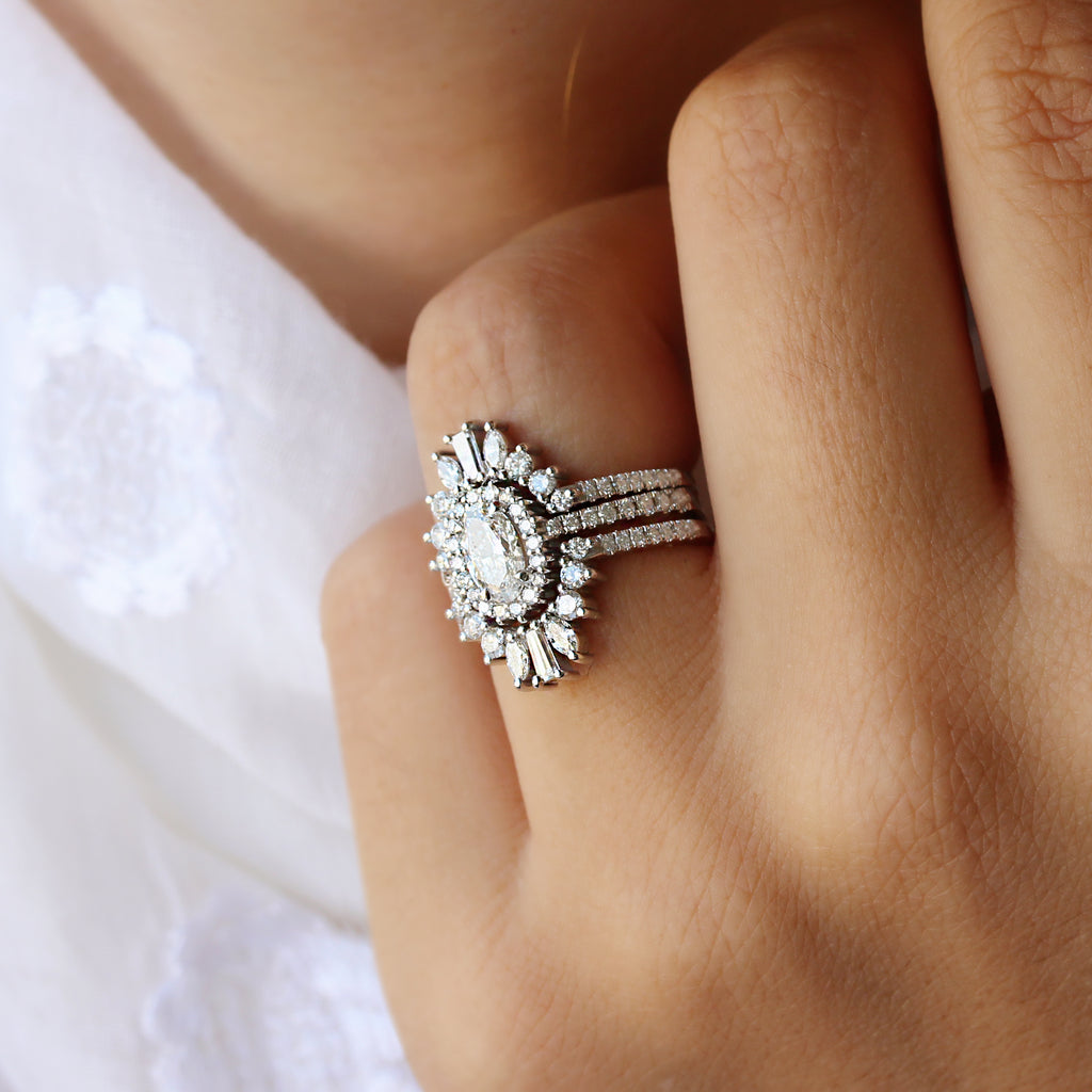 Oval Moissanite with diamond Halo Unique Engagement & Wedding Rings Set, Maia