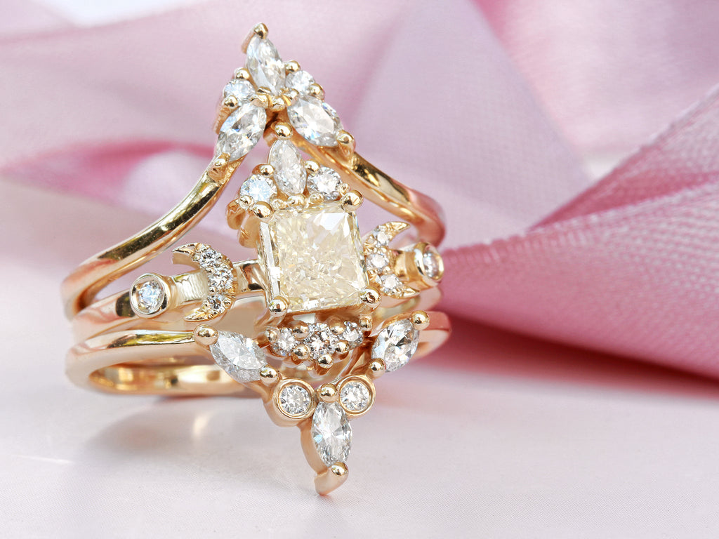 Celestial Doorway to Heaven Hindi Moon Square Diamond Engagement Ring & Amber Nesting Ring