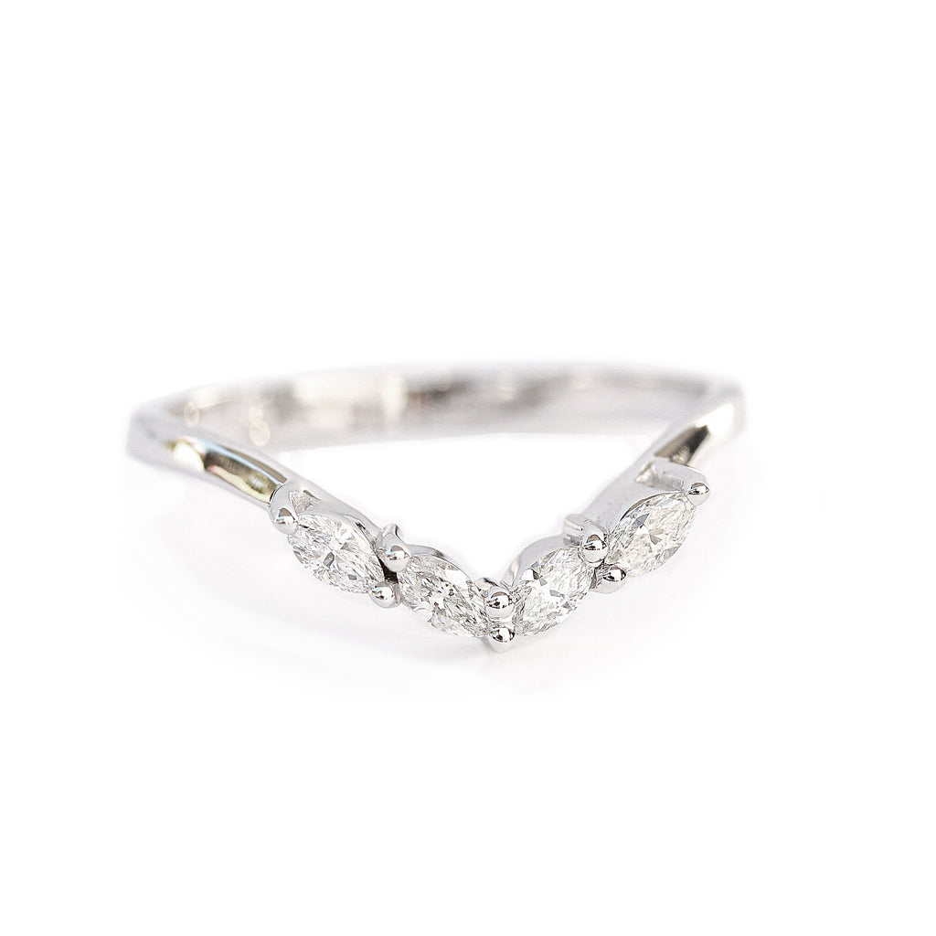 Diamond Chevron V Wedding Ring - Muse Nesting Ring - sillyshinydiamonds