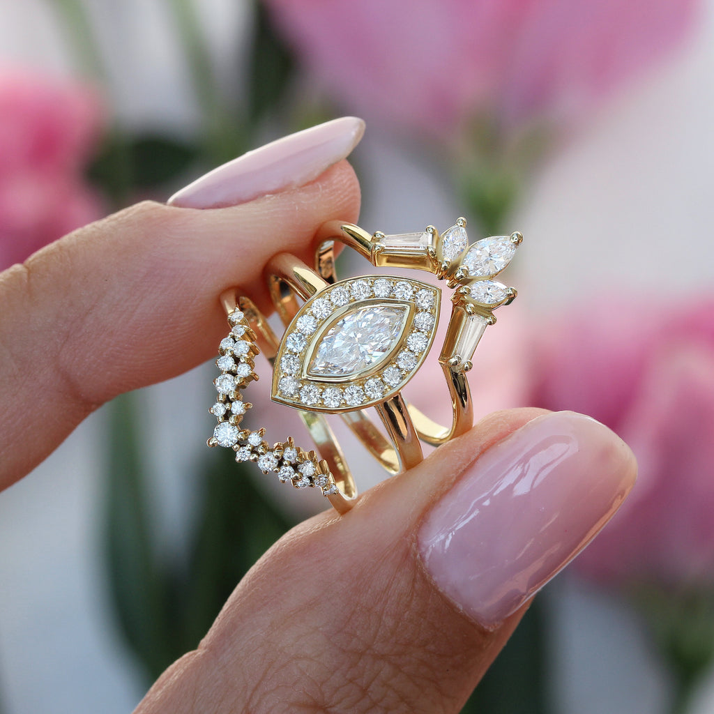 Ola Marquise Diamond Bezel Set with Big diamonds halo - sillyshinydiamonds