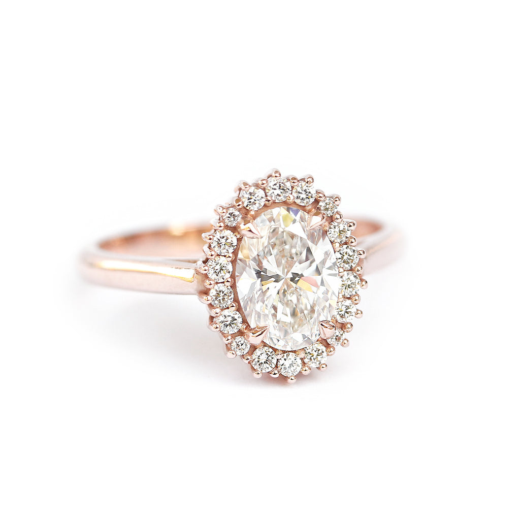 Oval Diamond 0.9 carat Unique Engagement Ring, Diana - sillyshinydiamonds