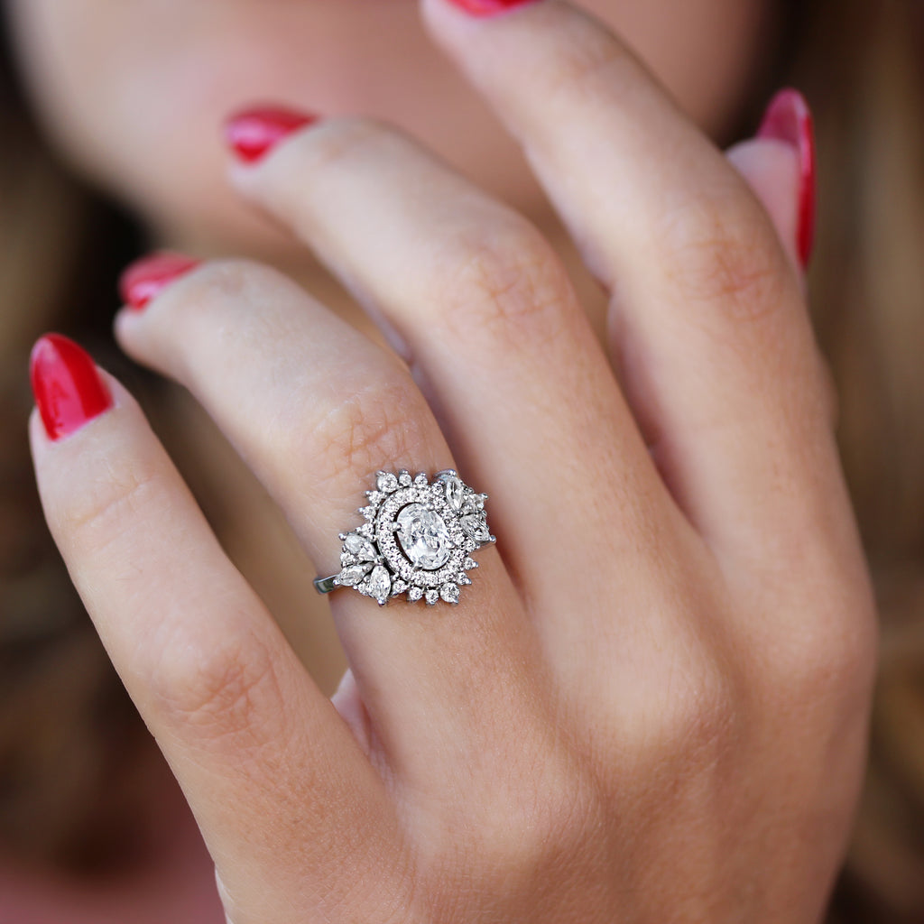 oval moissanite with double halo engagement ring, Monaco