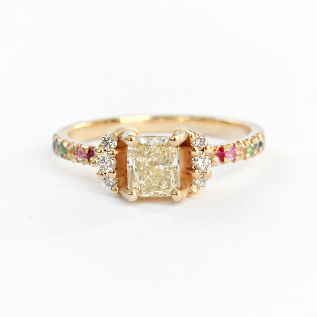 Parvati diamond ring Engagement Ring, 14K Yellow gold, size 6.5US - READY to ship - sillyshinydiamonds
