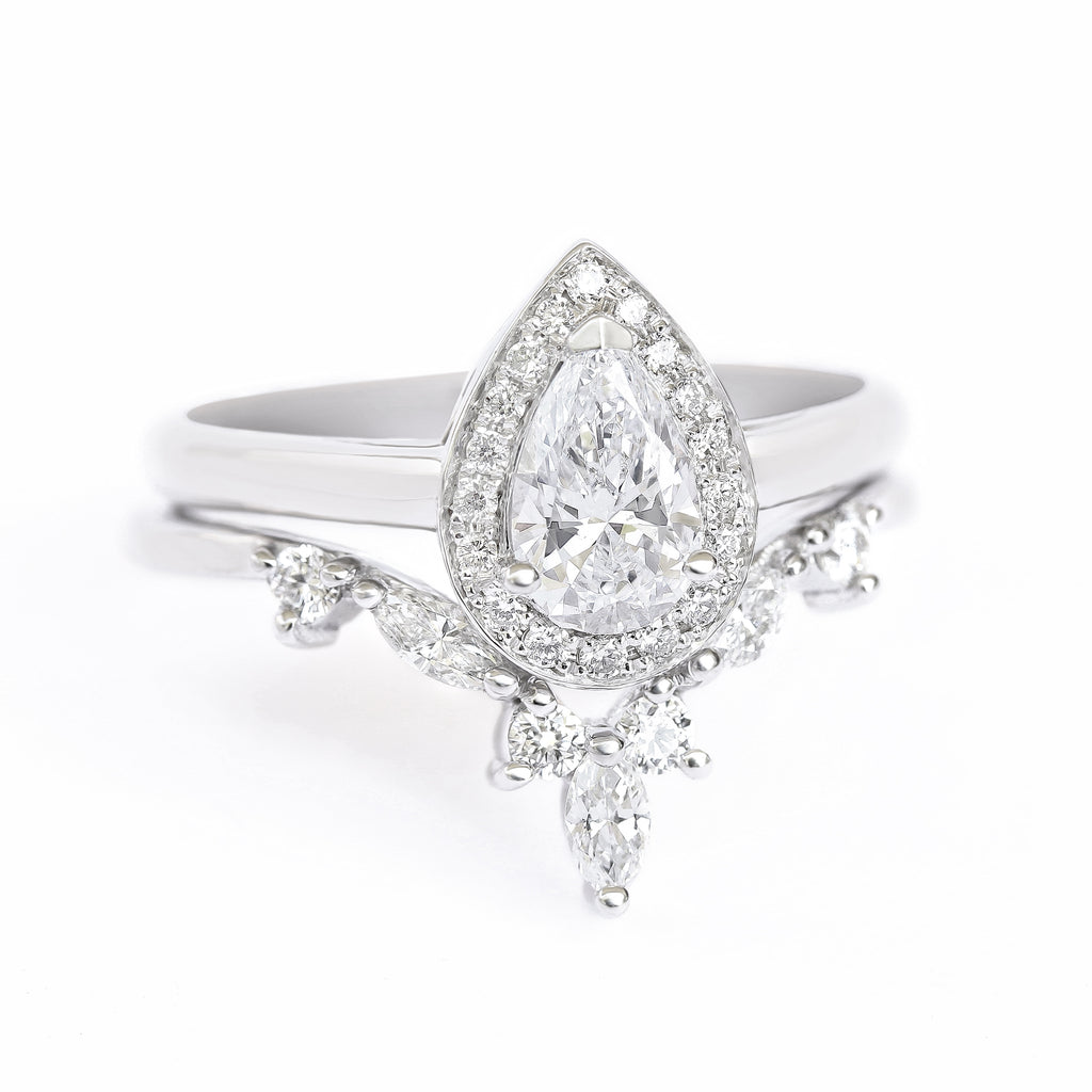 Pear diamond halo With Hermes Nesting Ring, bridal rings set - sillyshinydiamonds
