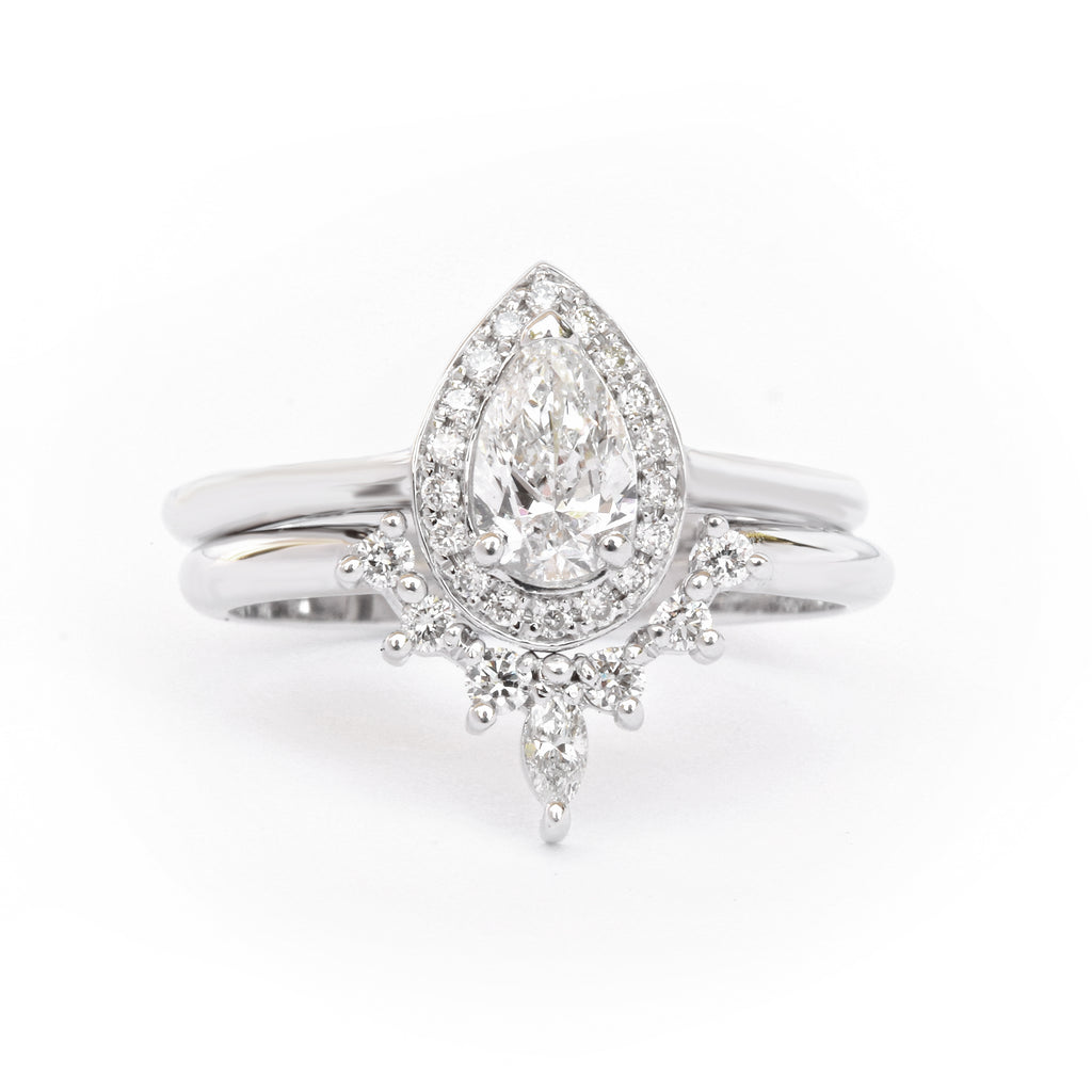 Pear Diamond 0.5ct Halo Engagement Ring  & Romi Diamond wedding side ring
