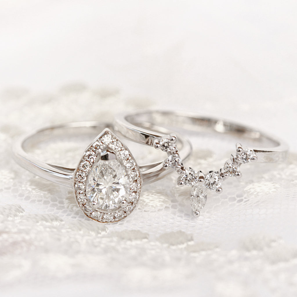 Pear Diamond 0.75ct Halo Engagement Ring  & Romi Diamond wedding side ring - sillyshinydiamonds