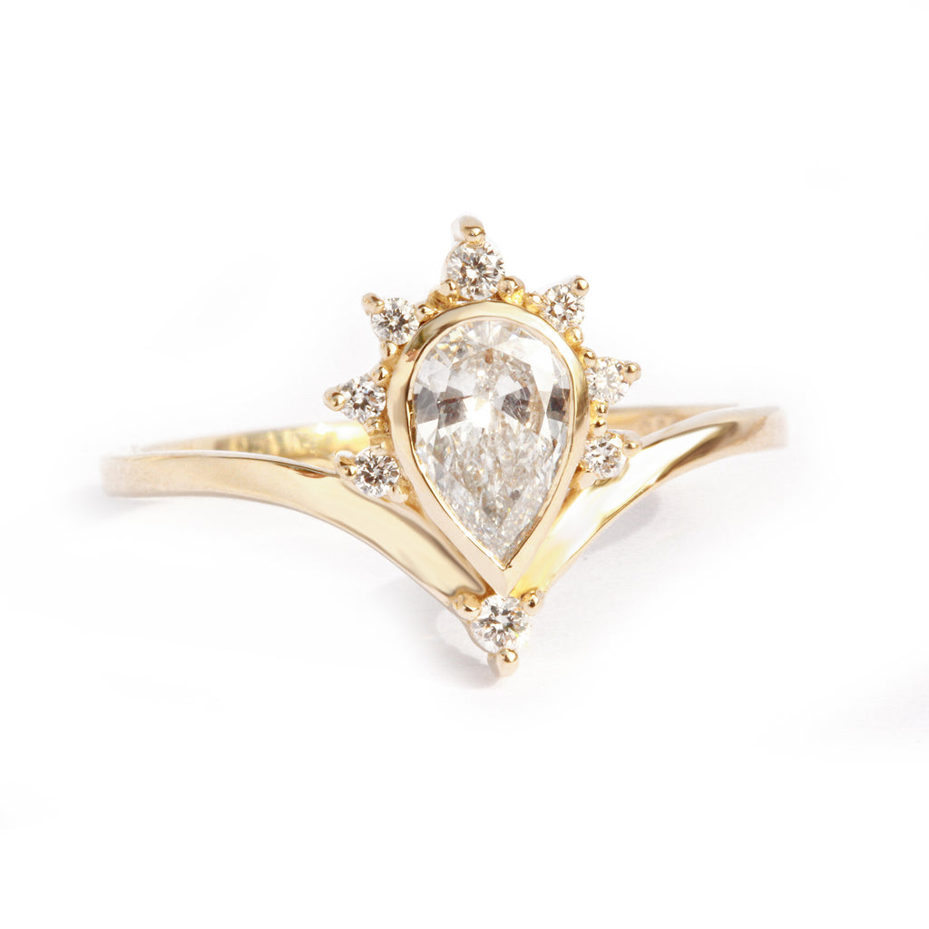 Pear Valentia 0.57ct Diamond Unique Chevron Engagement Ring - sillyshinydiamonds