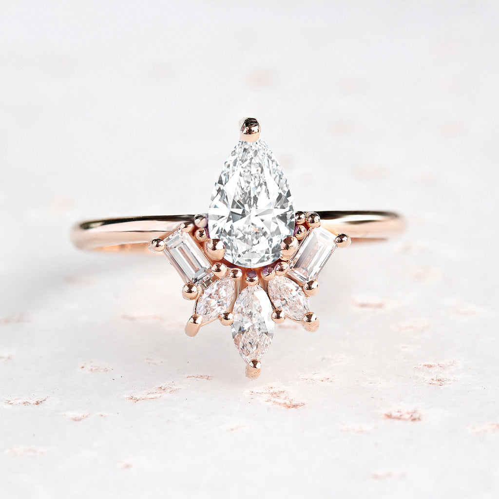 Gatsby Art Deco Pear Diamond Engagement ring