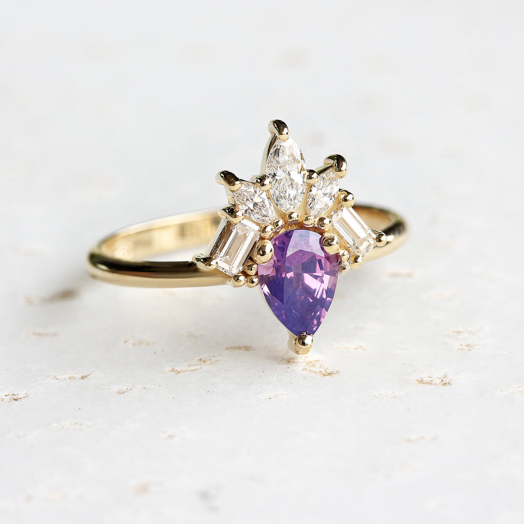 Purple pear Sapphire & Diamonds Engagement Ring, Gatsby - 14K Yellow gold ring, Size 6.5 ,ready to ship - sillyshinydiamonds