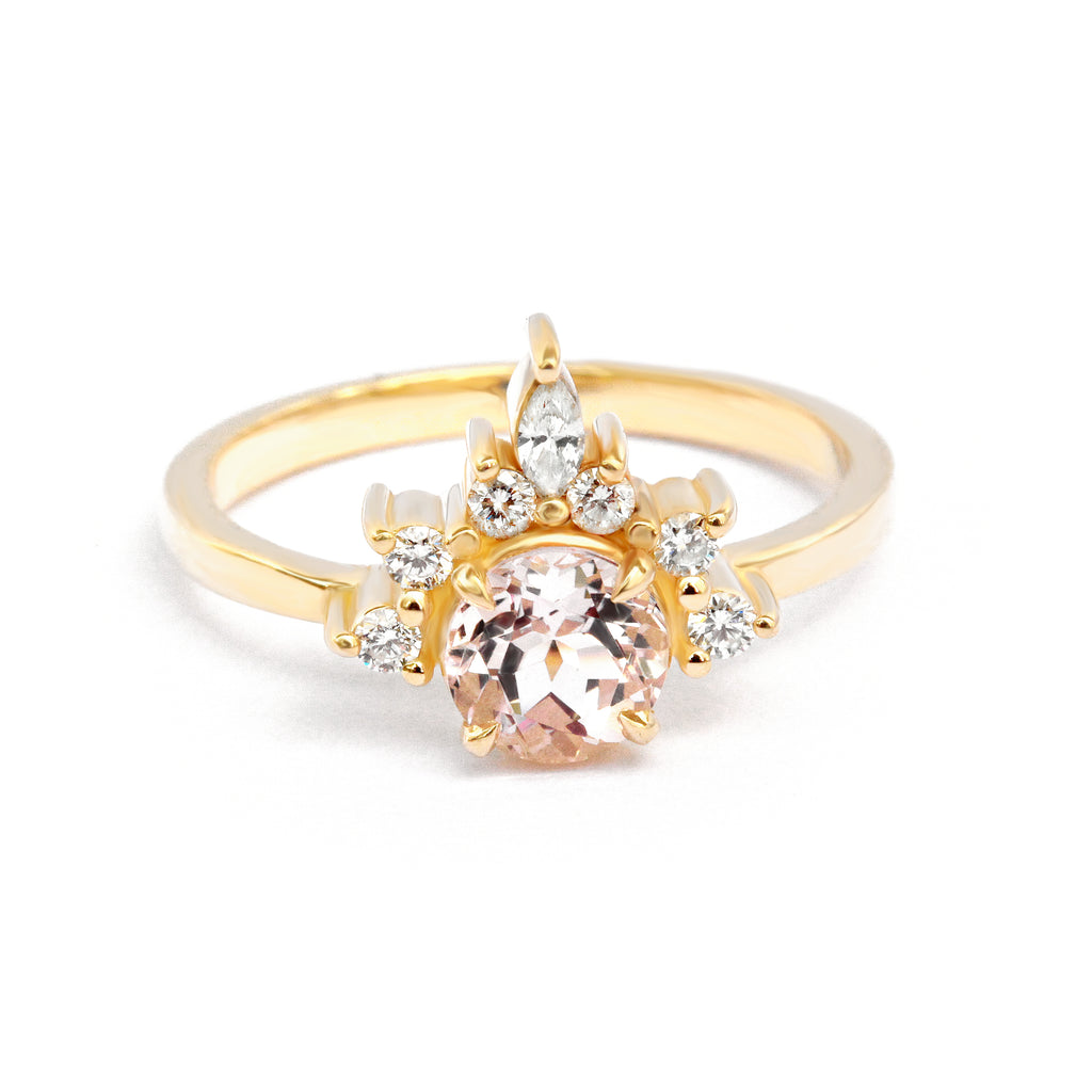 Romi Morganite & Diamonds Unique Engagement Ring - sillyshinydiamonds