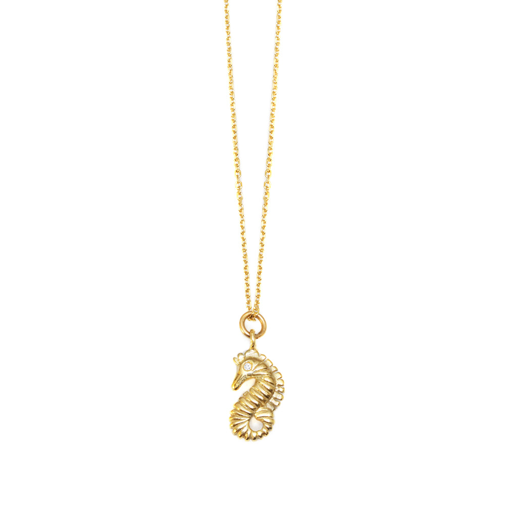 Seahorse Gold & Diamond Dainty Charm Necklaces - sillyshinydiamonds
