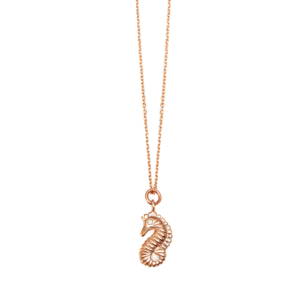 Seahorse Gold & Diamond Dainty Charm Necklaces