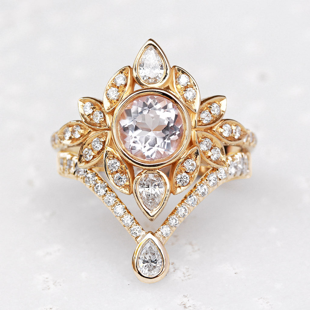 Deep V chevron diamond ring with Pear diamond tip - sillyshinydiamonds