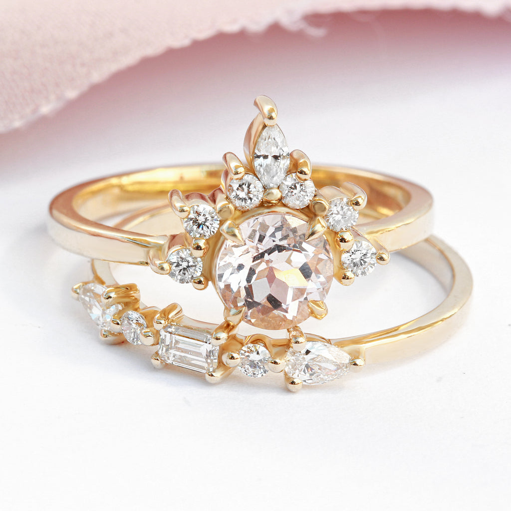 Delicate Baguette & Pear Diamond Wedding Band 'Totem' - sillyshinydiamonds