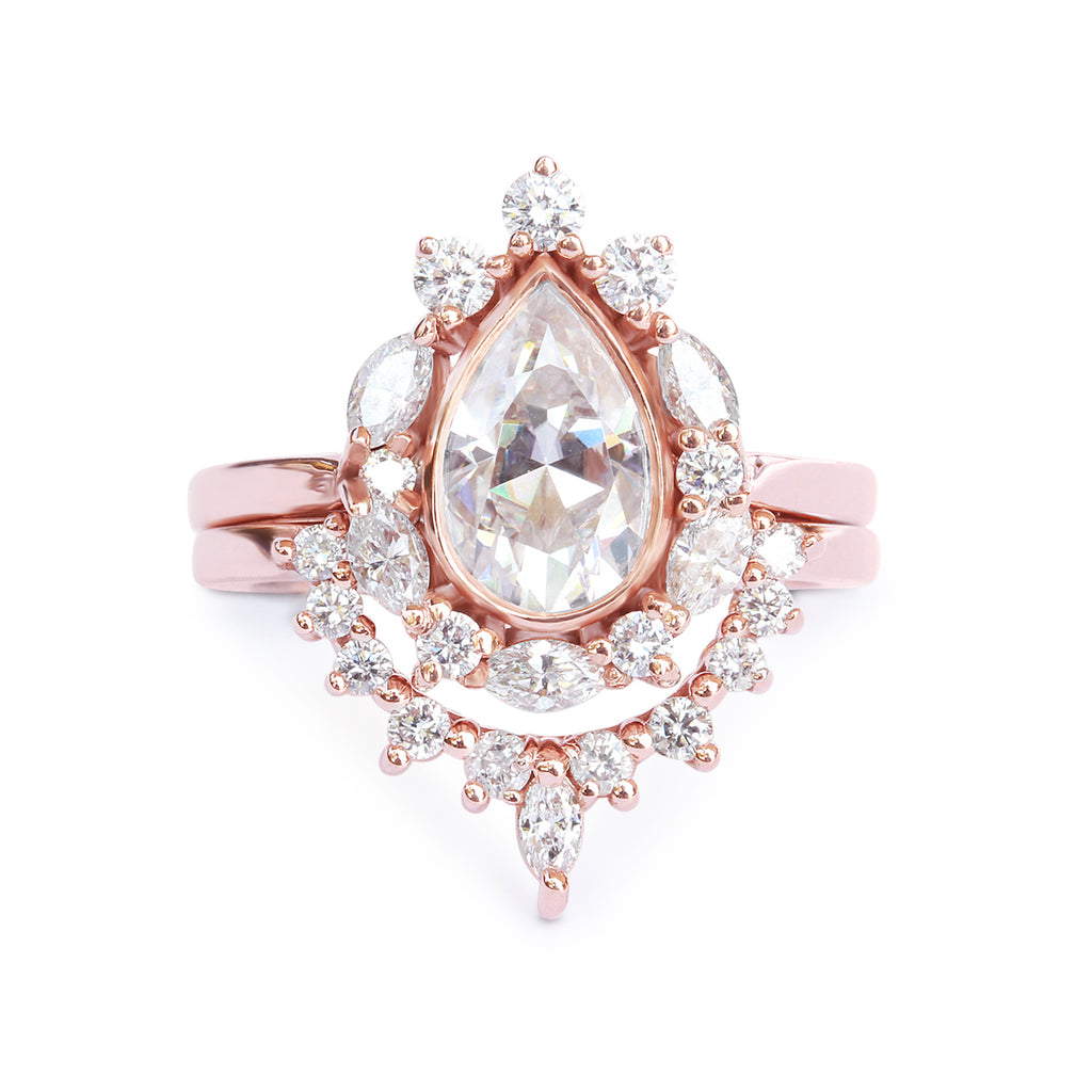 Pear Moissanite Diamonds Halo Engagement Rings Set  Ballerina, Unique 7.5 US Size Diamond Anniversary Gold Ring, Diamond Wedding 14K Rose Gold Ring - sillyshinydiamonds