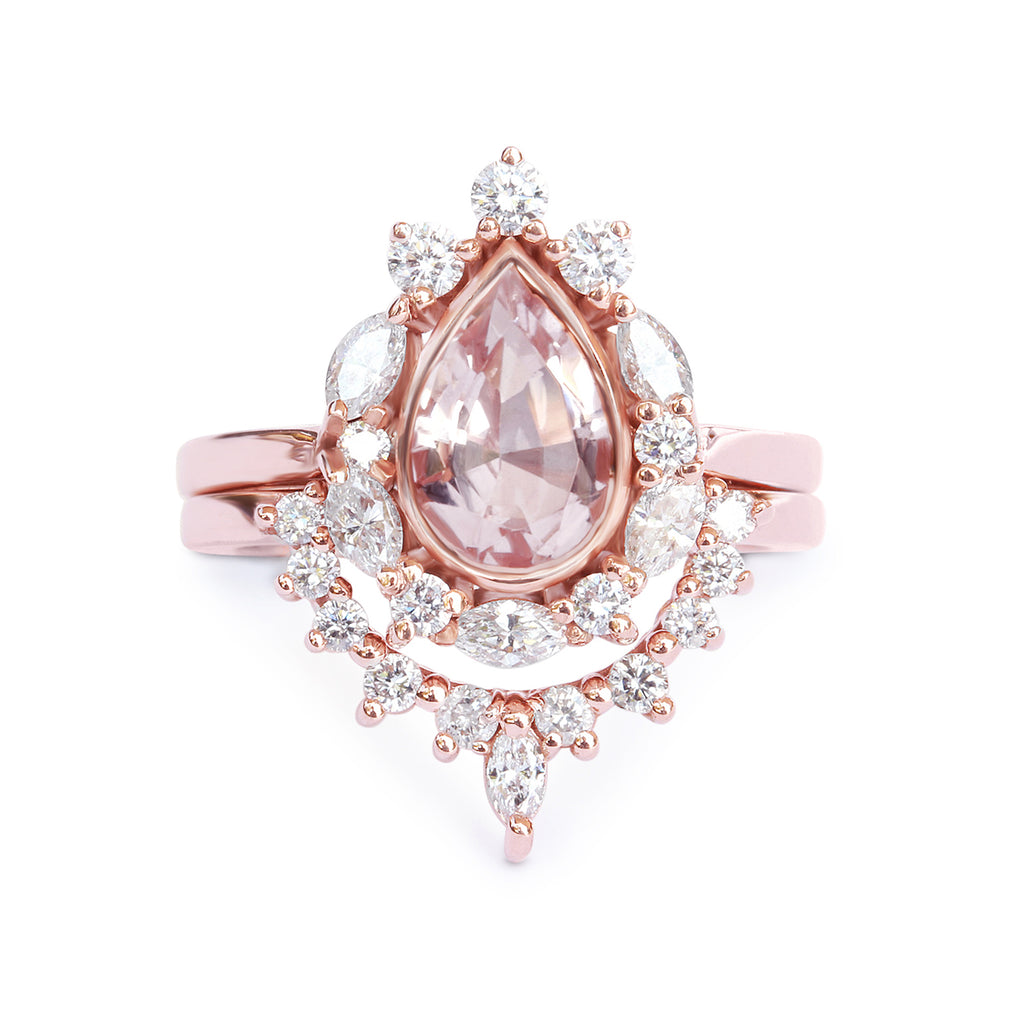 Pear Morganite & Unique Diamonds Halo Engagement Rings Set Ballerina - sillyshinydiamonds