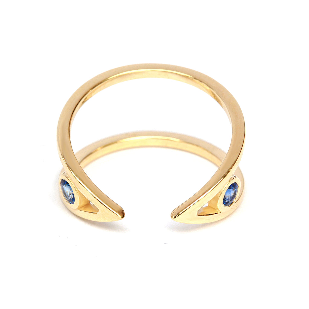 V Cuff Ring. Gold & Diamonds