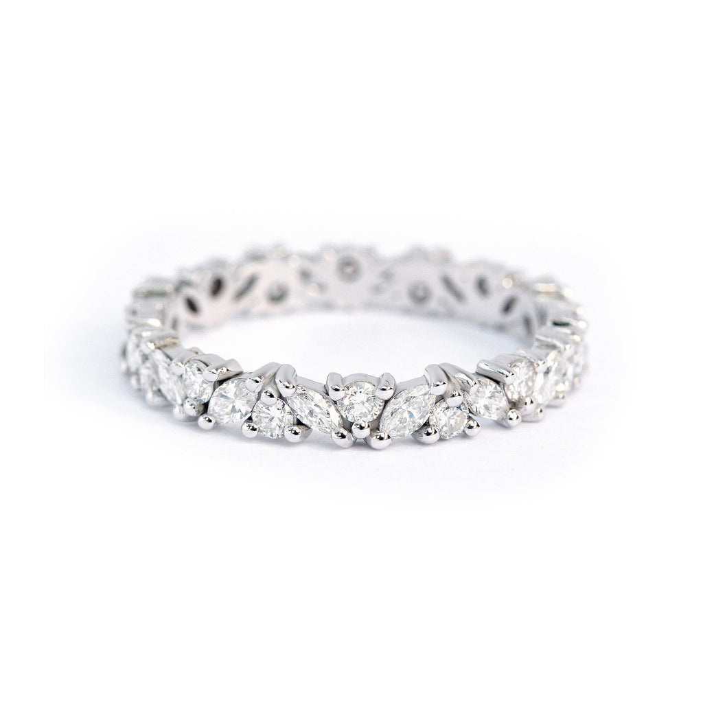 Marquise & round diamonds full eternity ring