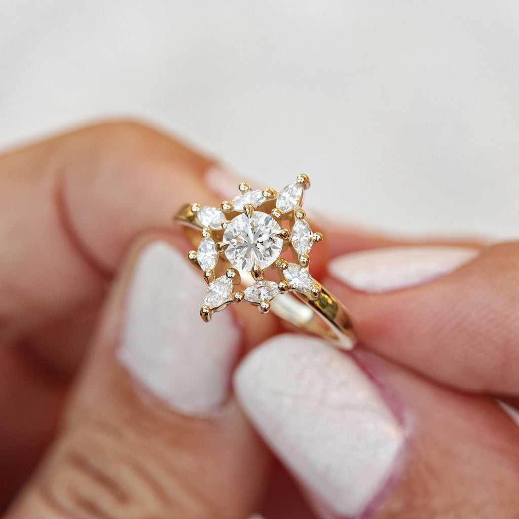 Aerolite Mini Moissanite Unique Engagement Ring - sillyshinydiamonds
