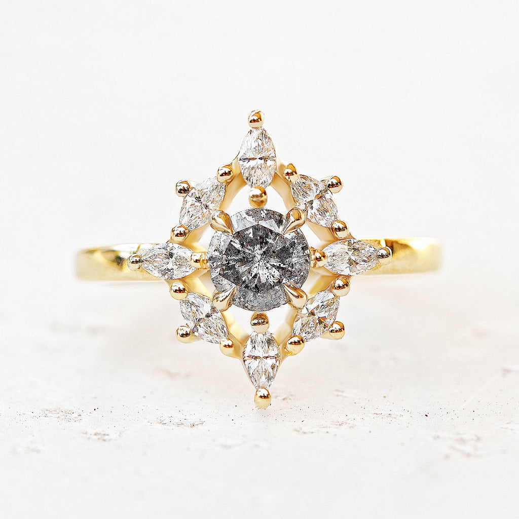 Aerolite Mini Salt & Pepper Diamond Unique Engagement Ring - sillyshinydiamonds