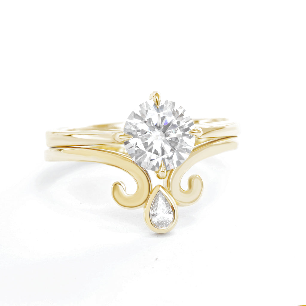 Pear Diamond Wedding Nesting Band, Ariel - sillyshinydiamonds
