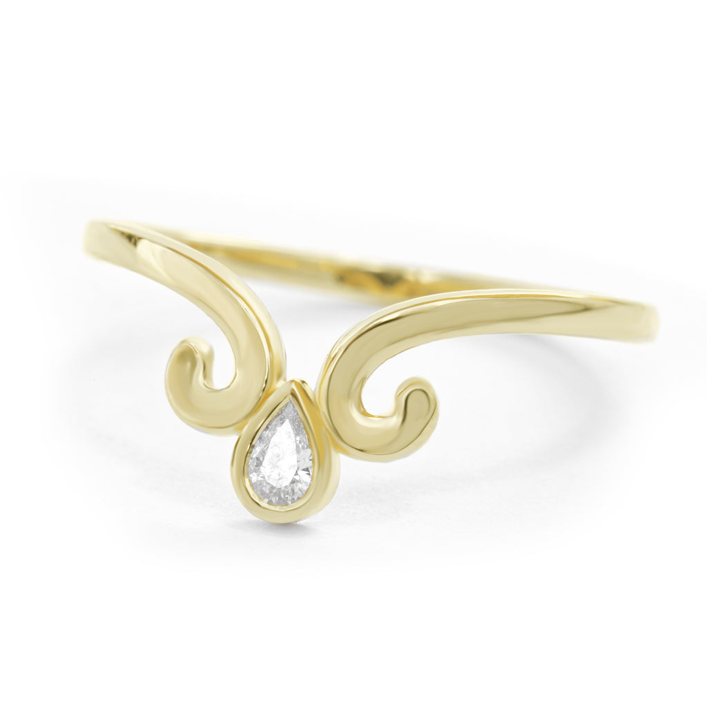 Pear Diamond Wedding Nesting Band, Ariel