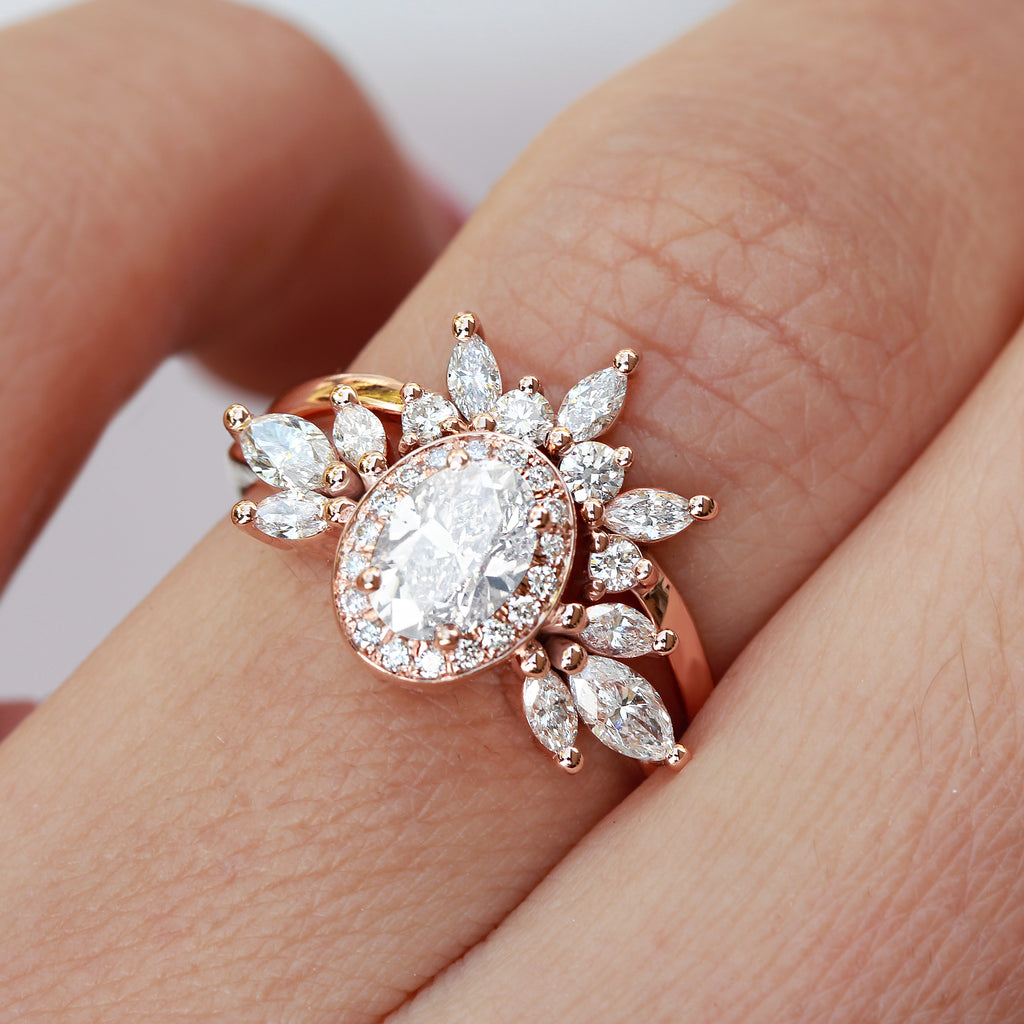 Oval Moissanite Unique Engagement Two Rings Set, Athena & her Crown - sillyshinydiamonds
