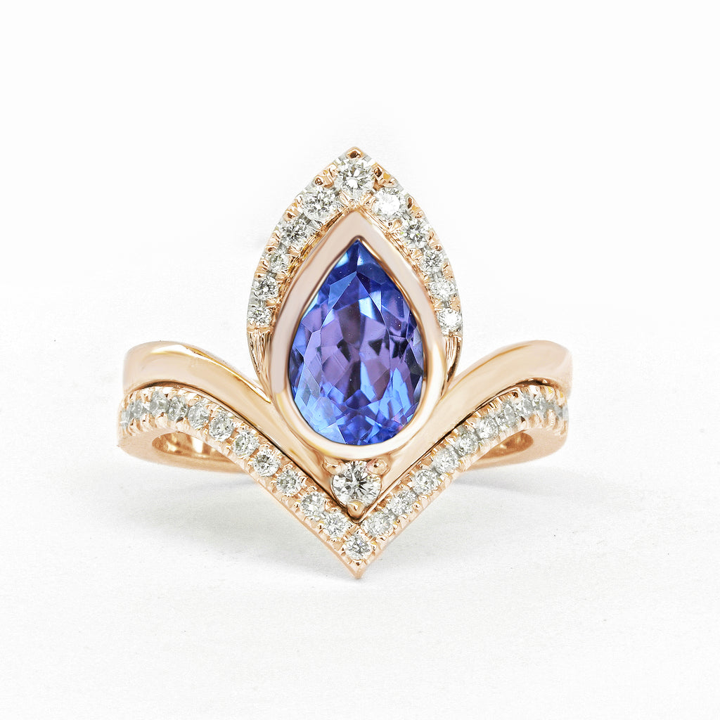 Pear Tanzanite & Diamonds Unique Engagement Ring Set, Atyasha - sillyshinydiamonds