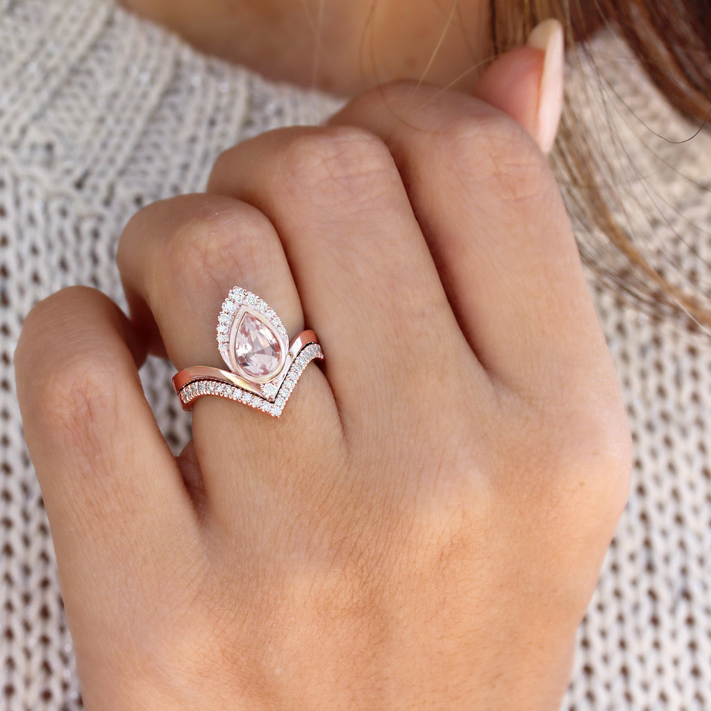 Pear Morganite & Diamonds Unique Engagement Ring Set Atyasha V - sillyshinydiamonds