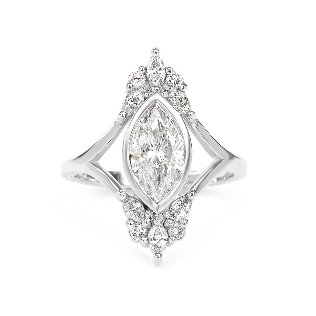 Marquise 1.4 carat Diamond Unique Engagement Ring, Art Deco Engagement Ring   Audrey
