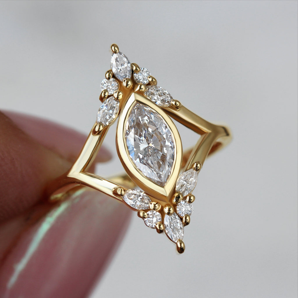 Audrey Marquise 1ct Diamond Unique Engagement Ring - sillyshinydiamonds